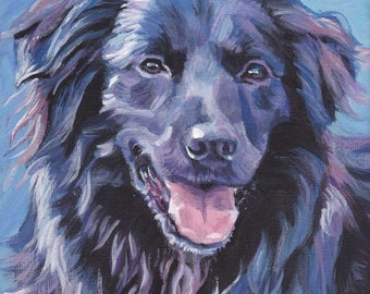 Pyrenean Shepherd dog art CANVAS print of LA Shepard painting 8x8 dog portrait
