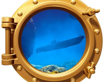 """Submarine Underwater Porthole Wall Graphic Decal 12"""" Removable Reusable"""