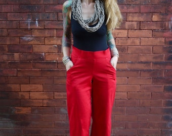Women's Red High Rise Wide Leg Cotton Pants with Pockets|Plus Size Pants|High Waisted Pants|Wide Leg Trousers|Wide Leg Jean|Sexy Pants
