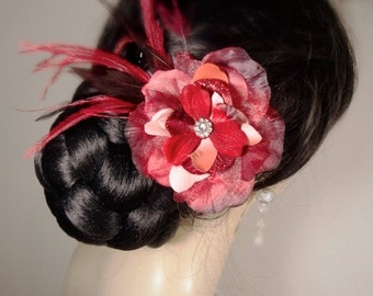 Shimmery Red Silk Rose Feather Flower Hair Pin Clip Hairpin Bridal Fascinator