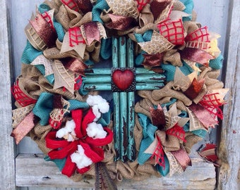 Cross Wreath,Rustic Wreath,Cotton Wreath,Winter Wreath,Shabby Chic Wreath,SouthernWreath,Farmhouse Wreath,Summer Wreath,Spring Wreath