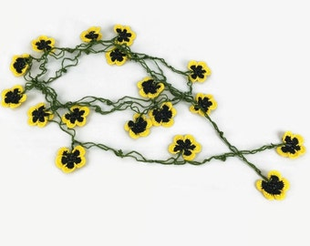Crochet Necklace Yellow and Black Flower Necklace, Oya crochet Necklace, Crochet Jewelry, Yellow flower Lariat