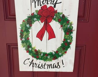 Christmas wreath door hanger, Merry Christmas door hanger, Holiday wreath, rustic Christmas sign, farmhouse Christmas sign