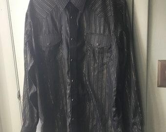Vintage Crazy Cowboy Western Shirt Black Gold Metallic Stripes XL