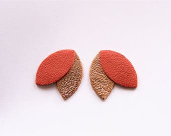 Earrings leather copper red petals and rose gold