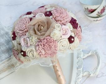 Rose Gold Wedding Bouquet // Rose Gold Bridal Bouquet, Pink, Champagne, Burgundy, Fabric Flowers, Sola Flowers, Lace Bride Bouquet, Elegant
