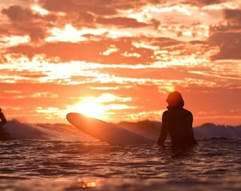 Surf Photography: Surfer Watching a Sunset on a Surfboard Photo Print on Metal, Canvas or Paper. Surf Photography Surfing Wave Beach Decor