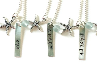 """Starfish Necklace, Personalized Party Favors For Girls, Girls Birthday Party Favors, Little Girl Necklace, Personalized Charm Necklace, 16"""""""