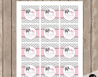 Elephant Girl favor tags, Pink Elephant Baby Shower INSTANT Download pe1
