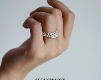 Sterling Silver Volcanic Coral Ring | Unique Wedding Band Rings | Nature Inspired Rings