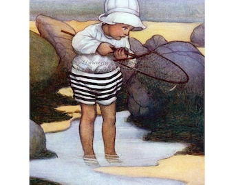 Child Fishing Fabric - Tidal Pool at the Beach - Vintage Style