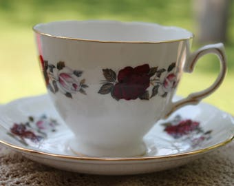 "ROYAL VALE Bone China Teacup and Saucer, ""Pattern Number 7975"""