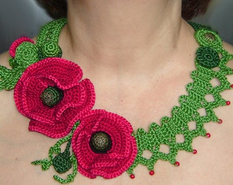 poppies flowers crochet necklace