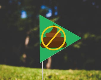 Single Poopetrators Flag - No Poop Emoji-Green & Yellow