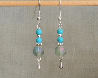 Frosted glass and turquoise beads and Silver earrings