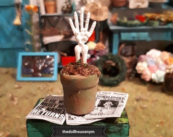 Miniature 1:12, calavera hand in pot, great to decorate our witch and wizard houses or magic stores.