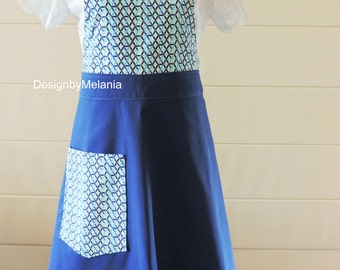 APRON, Women Apron, Full Apron Gorgeous Handmade Navy Blue, Light Blue Apron