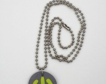 Power Button Symbol Bead Chain Necklace Polymer Clay Computer Jewelry Gamer Geek Gift Power Button Pendant ON/OFF Button Wasabi Green Grey