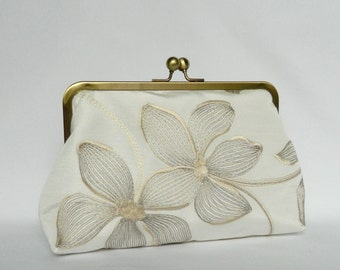 Ivory and Gold Embroidered Floral Clutch, Clutch Bag, Wedding Clutch, Bridal Clutch, Floral Clutch, Evening Clutch, UK