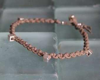 Bracelet Colo 05 Silver Cotton Cord Handmade - Natural (B105SV-CNT)