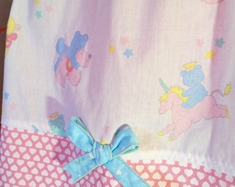 Unicorn skirt, fairy kei 80's teddy bear sweet lolita cotton plus size pastel large L