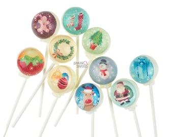 Sparko Sweets Christmas Characters Pixel Pops Lollipops (10 Unique Designs) Handmade Gourmet Candy