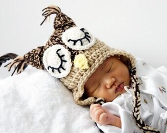 Owl Hat, Sleepy Owl Hat, Crochet Baby Hat, Baby Hat, Animal Hat, Brown, Beige, photo prop