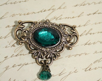 Filigree Emerald Green Brooch Brass Antiqued Victorian Gothic