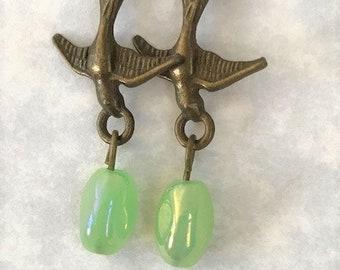 Mint Green Earrings, Antique Bronze Swallows and Seafoam Green Nugget Earrings, Pale Green Bird Earrings