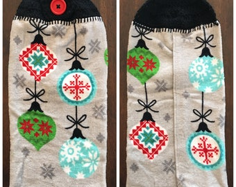 Holiday Kitchen Towel With Crochet Top - Ornaments