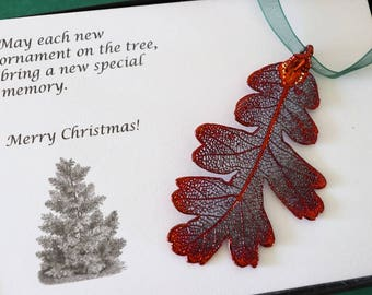 Leaf Ornament Copper, Lacey Oak Leaf, Leaf Extra Large, Ornament Gift, Christmas Card, Copper Leaf, Tree Ornament, Wedding, ORNA103