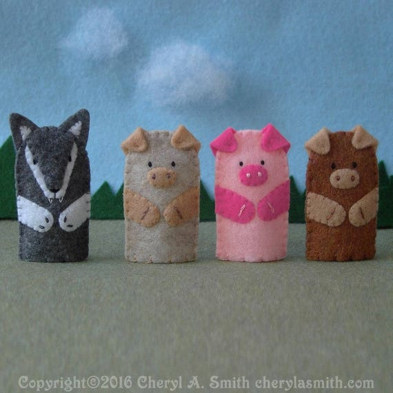 Three Little Pigs and the Big Bad Wolf Puppet Set 3 Pigs