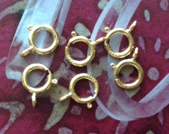 14K Gold Filled Spring Ring Springring Clasps, 6mm, 10pcs, Bulk Wholesale, Open Ring