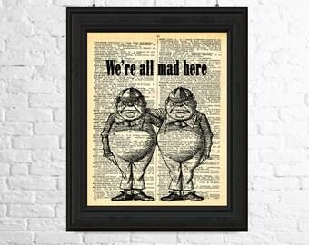 Alice in Wonderland Wall Art - Tweedledum and Tweedledee, Dictionary Page Art, Printable Poster, Fairytale Printables, Printable Art