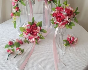 Pink Silver Green Leaf Bridal Bouquet