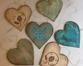 Six Decorative Wood Hearts