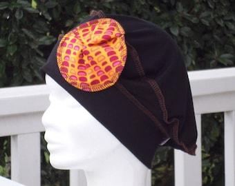Orange turban Beanie beret Hat woman black and printed jersey