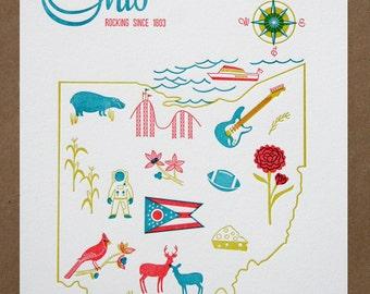 Ohio State Letterpress Print 8x10