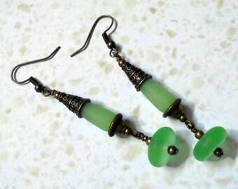 Frosted Green Sea Glass Drop Earrings (2761)