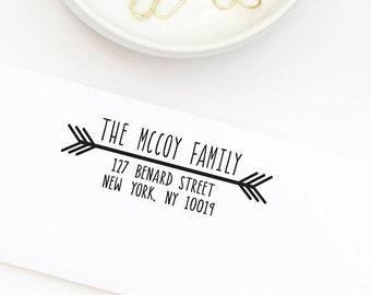 Custom Address Stamp,  Return Address Stamp, Self-Inking Address Stamp, Wedding Stamp, Personalized Address Stamp, Arrow Address No. 28