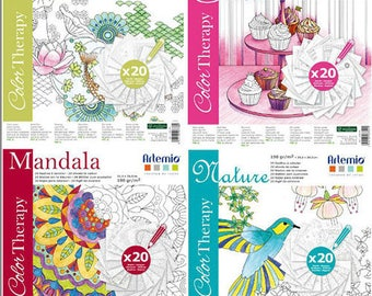 BLOCK scrapbooking paper Color Therapy 4 COLLECTIONS 30.5x30.5 cm coloring page adult coloring