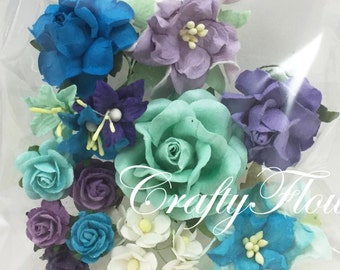 26 Mixed Paper Flowers Scrapbooks Wedding Faux Cards Dolls Crafts Roses Chic Lily 626/Set3(77)