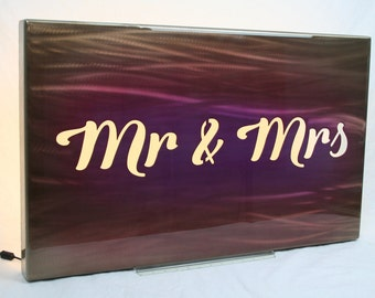 Mr & Mrs backlit sign, wall light, mr and mrs sign, led lighting, modern reception decor, wedding gift, anniversary gift, romantic gift