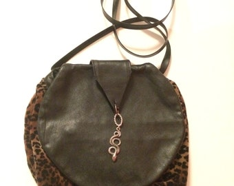 Small bag with a leopard print upcycled
