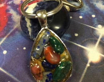 Protection Keychain Amulet - crystals, Reiki,witchcraft, witch, magickal, Malachite,Lapis,Red Agate,herbs,blessings,tarot,chakra,moonlight