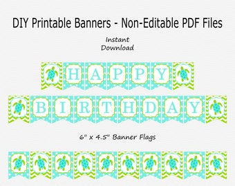 Happy Birthday Banner - Lime Green & Aqua Blue - Sea Turtle Birthday Party Buntung - PRINTABLE - INSTANT DOWNLOAD