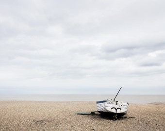 Seaside Skies Photography - Small Boat Fine Art Photograph - Aldeburgh England - 8x12