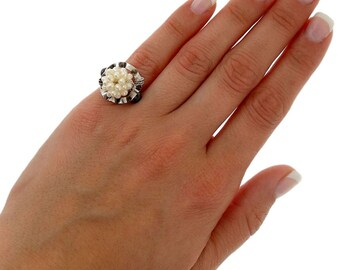 Modern geometric pearl ring jewelry, pinky ring, sterling silver chevalier ring,small pinky ring, ring for women