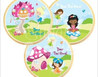 Sweet Fairies Sugar Cookies - Photo Cookies, Edible Favor, Edible Images, Custom Cookies **Ships in 3-5 BUSINESS Days**