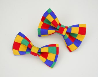 Fun Checkers Medium Dog Collar Bow Tie. Pet Fashion